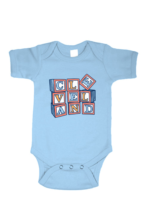 Cleveland Blocks - Onesie - Blue