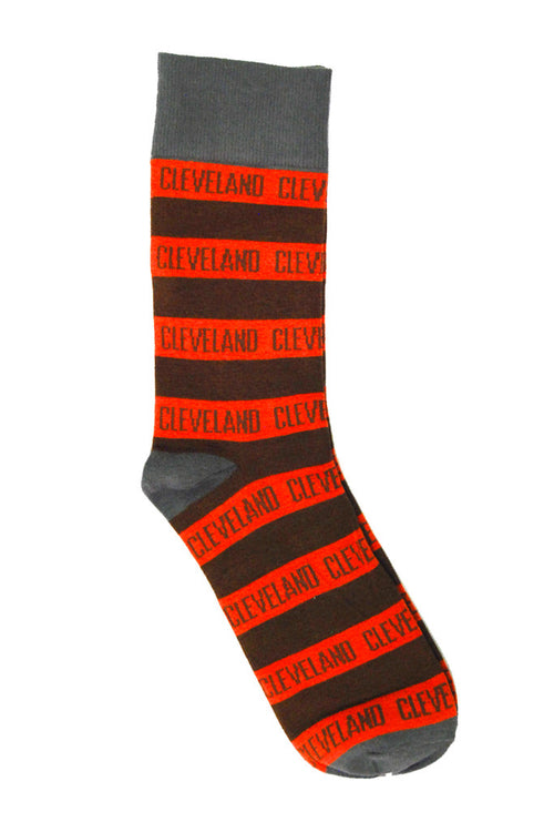 Cleveland Stripe - Brown/Orange- Dress Socks