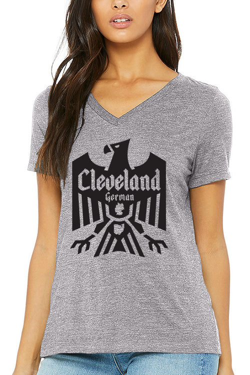 Cleveland German - Grey - Womens Relaxed V-Neck - CLE Clothing Co.