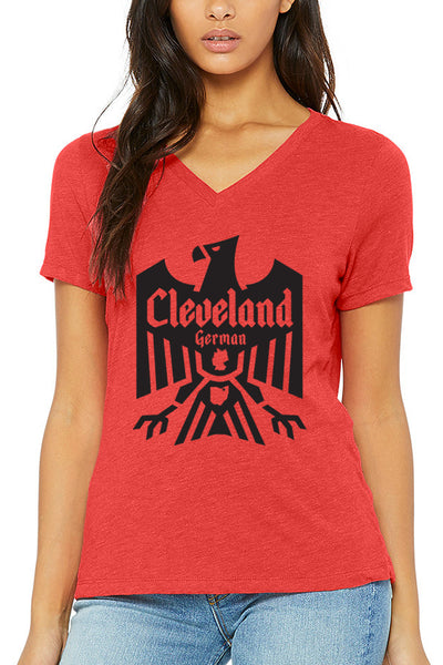 Cleveland German - Red - Womens Relaxed V-Neck - CLE Clothing Co.