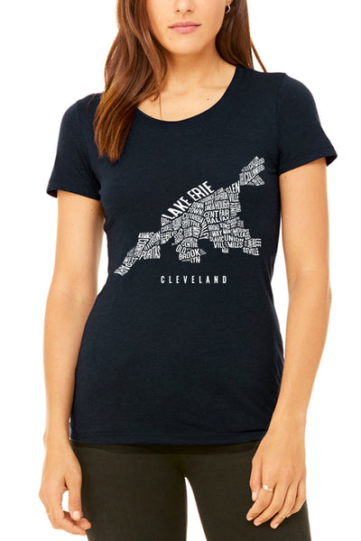 Cleveland Neighborhood Map - Women's Crew - CLE Clothing Co.