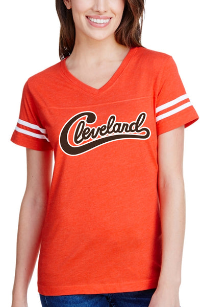 Groovy Cleveland Script - Womens Vneck - CLE Clothing Co.