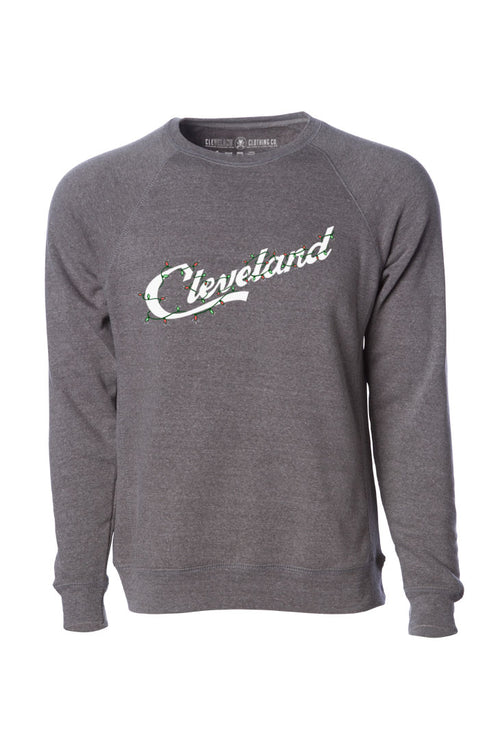 Cleveland Script Holiday Lights - Unisex Fleece Crewneck Sweatshirt AVAILABLE IN STORES!