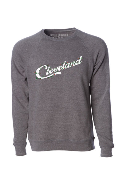 Cleveland Script Holiday Lights - Unisex Fleece Crewneck Sweatshirt