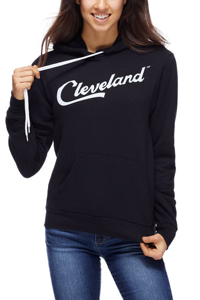 Cleveland Script - Pullover Hoodie - Black