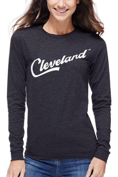 Cleveland Script - Unisex Long Sleeve Crew - Heather Black - CLE Clothing Co.