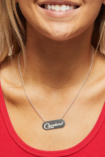 Cleveland Script Necklace - Silver - CLE Clothing Co.