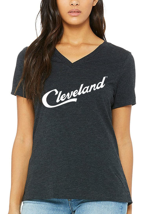 Cleveland Script - Womens Relaxed Fit VNeck - Heather Black