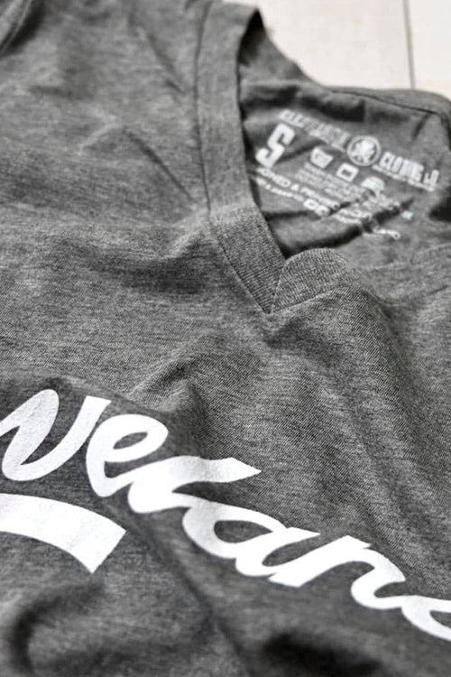 Cleveland Script - Womens Relaxed VNeck - Grey