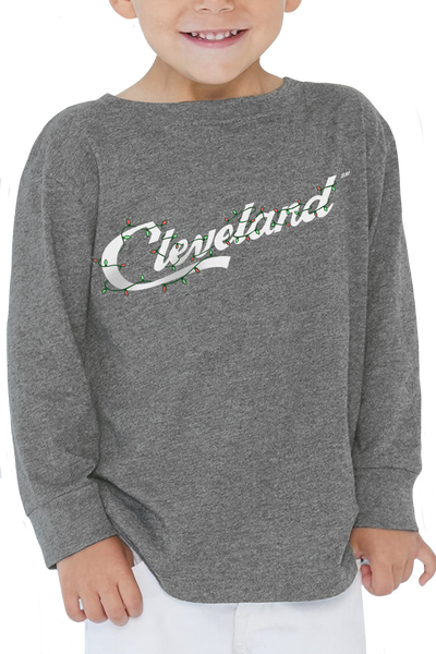 Cleveland Script Holiday Lights - Toddler Long Sleeve Crew