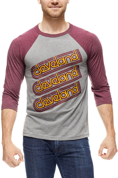 Cleveland Repeat - Hardcourt - Unisex Raglan - Wine/Grey