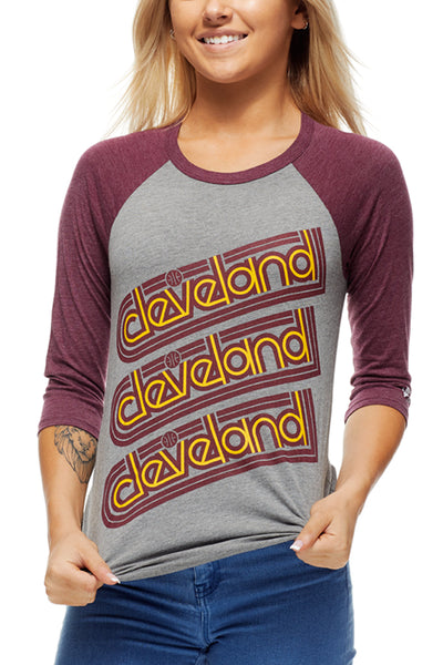 Cleveland Repeat - Wine/Gold - Unisex Raglan - CLE Clothing Co.