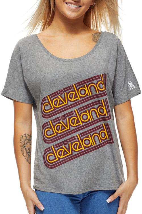 Cleveland Repeat - Wine/Gold - Women's Boxy Tee