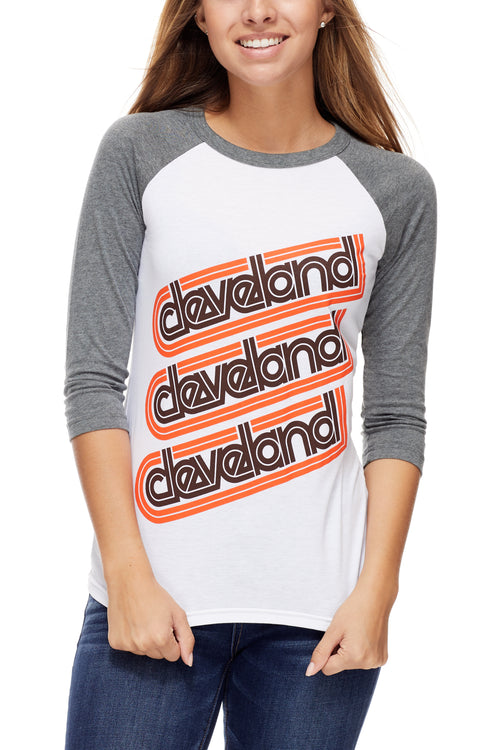 Cleveland Repeat - Brown/Orange - Unisex Raglan