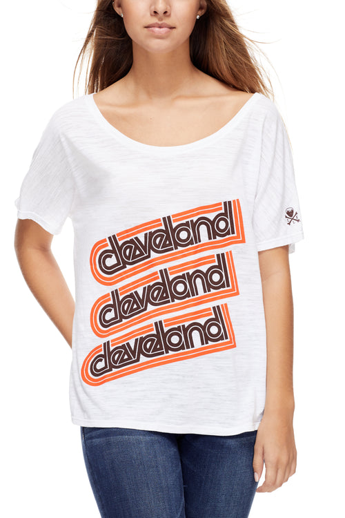 Cleveland Repeat - Brown/Orange - Women's Boxy Tee