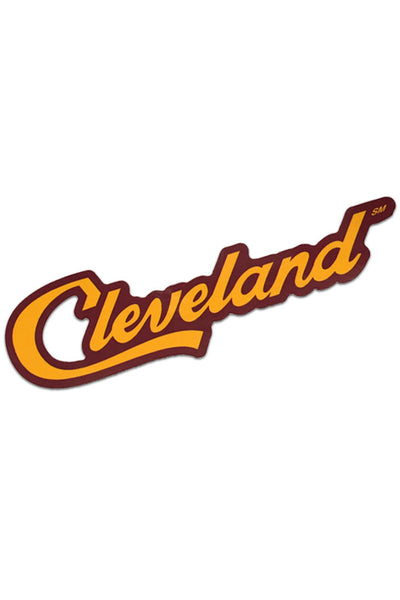 Cleveland Script - Wine/Gold - Sticker - CLE Clothing Co.