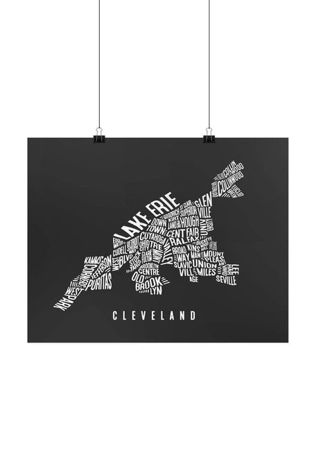 Cleveland Word Collage Map Framed Print