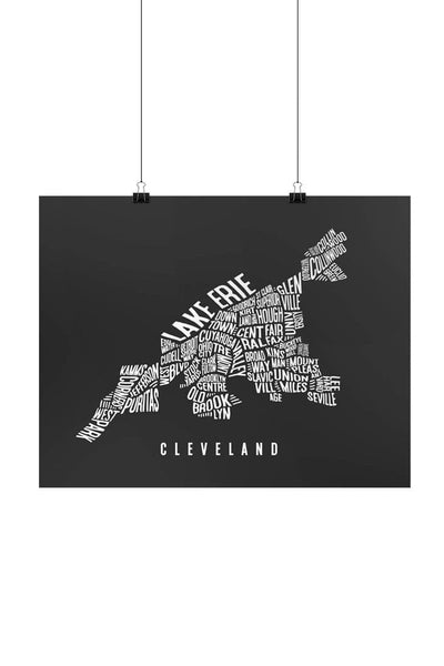 Cleveland Word Collage Map - Print - CLE Clothing Co.