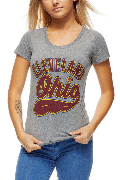 Cleveland, Ohio - Wine/Gold - Womens Crew