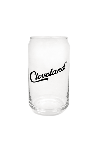 Cleveland Script Pop Can Glass