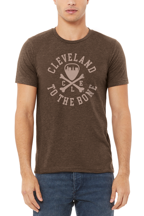 Cleveland To The Bone Logo - Unisex Crew - Heather Brown