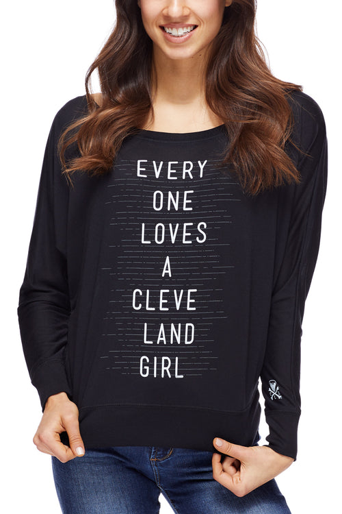 Everyone Loves a Cleveland Girl - Women's Flowy Off-Shoulder