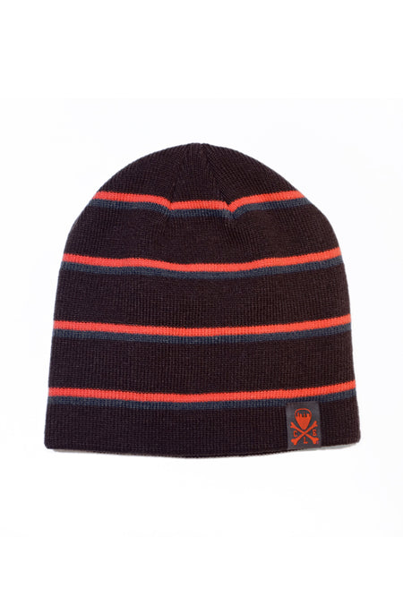The Land Script - Knit Pom Beanie - Baby Blue & Orange