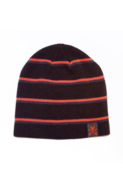 CLE Logo Striped Knit Beanie - Brown/Orange/Grey