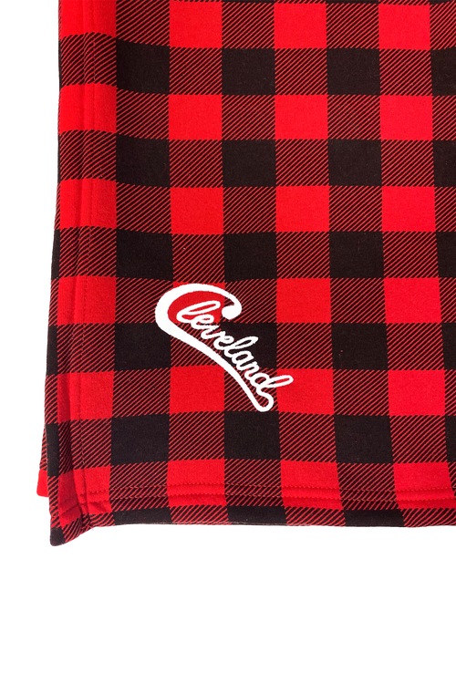 Embroidered Groovy Cleveland Script Blanket - Red Buffalo Plaid