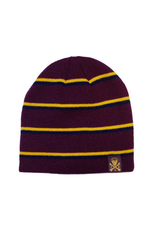 CLE Logo Striped Knit Beanie - Wine/Gold/Navy