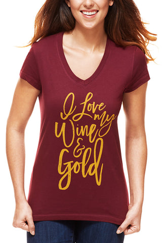 I Love My Wine & Gold - Women's V-Neck