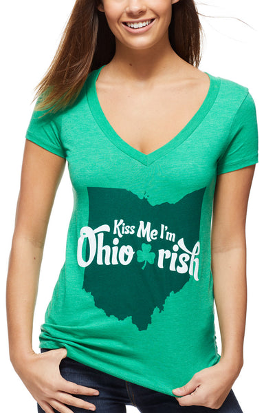 Kiss Me, I'm Ohio Irish - Women's V-Neck