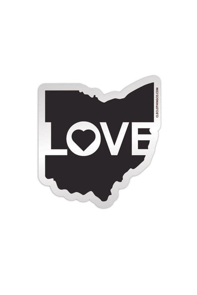 Ohio Love - Black - Sticker - CLE Clothing Co.