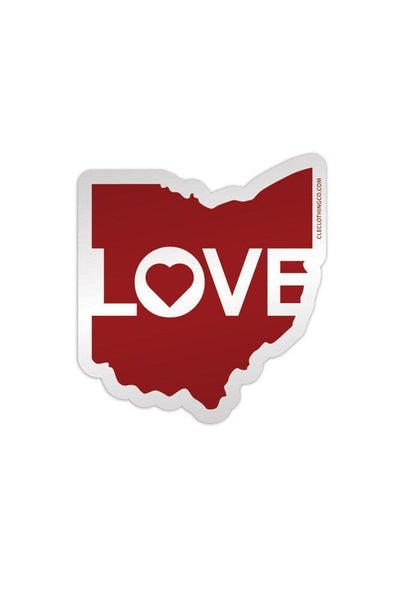 Ohio Love - Red - Sticker - CLE Clothing Co.