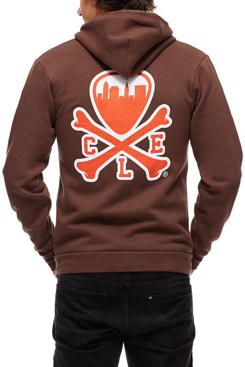 CLE Logo Hoodie - Gridiron - Brown & Orange