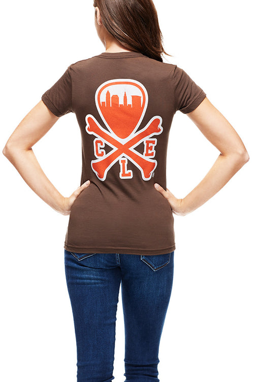 CLE Logo - Brown/Orange - Women's Crew