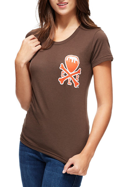 CLE Logo - Brown/Orange - Women's Crew - CLE Clothing Co.