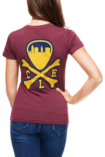 CLE Logo - Wine/Gold - Womens Crew - CLE Clothing Co.