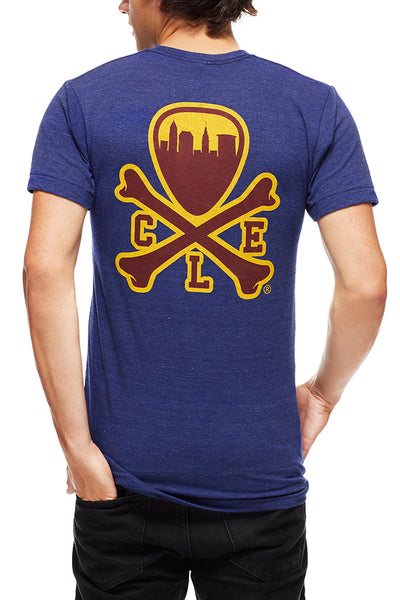 CLE Logo - Wine/Gold - Unisex Crew - Tri Indigo - CLE Clothing Co.