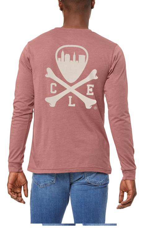 CLE Logo - Unisex Long Sleeve Crew - Heather Mauve