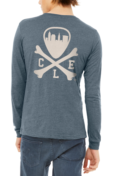CLE Logo - Unisex Long Sleeve Crew - Heather Slate