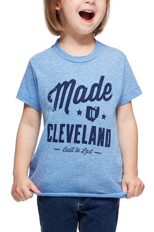 Made In Cleveland - Tri Blue - Kids Crew