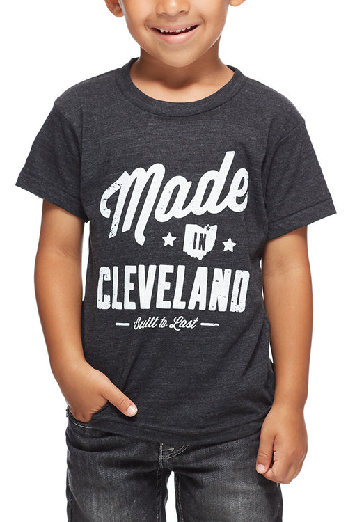 Made In Cleveland - Tri Black - Kids Crew