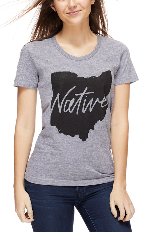 Native Ohioan - Womens Crew - Grey - CLE Clothing Co.