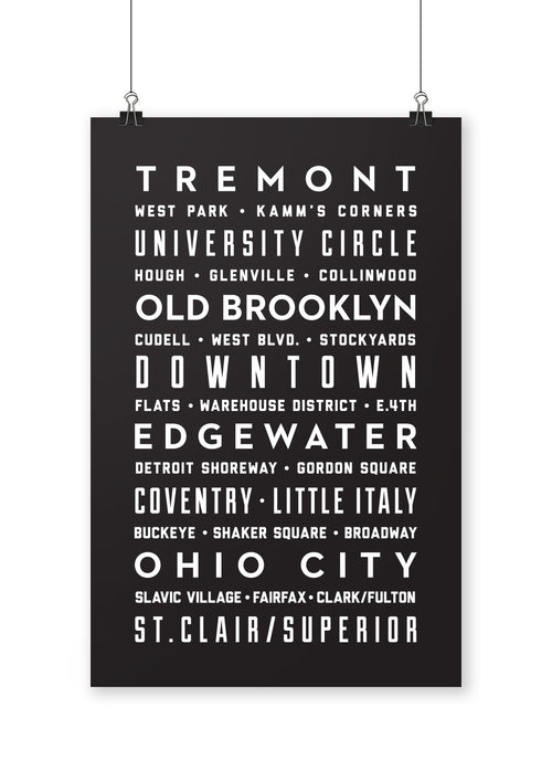 Cleveland Neighborhoods Poster - CLE Clothing Co.
