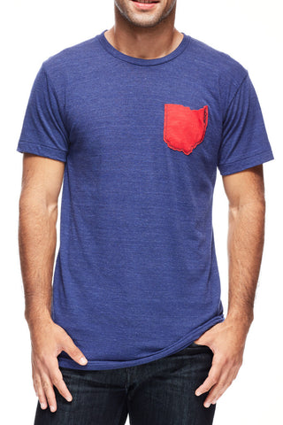 Ohio Pocket Tee - Tri-Indigo & Red - Unisex Crew