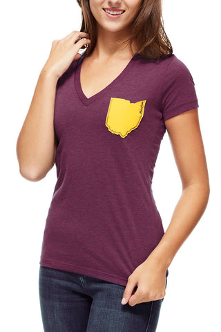Ohio Pocket - Wine & Gold - Women's V-Neck