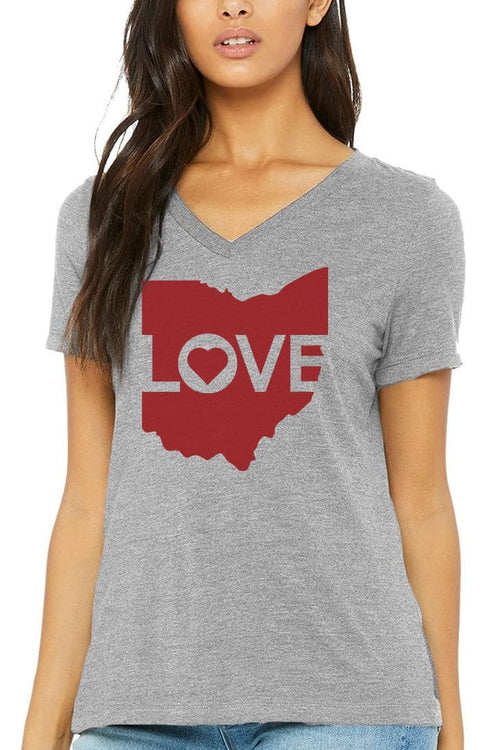 Ohio Love Logo - Womens V-Neck