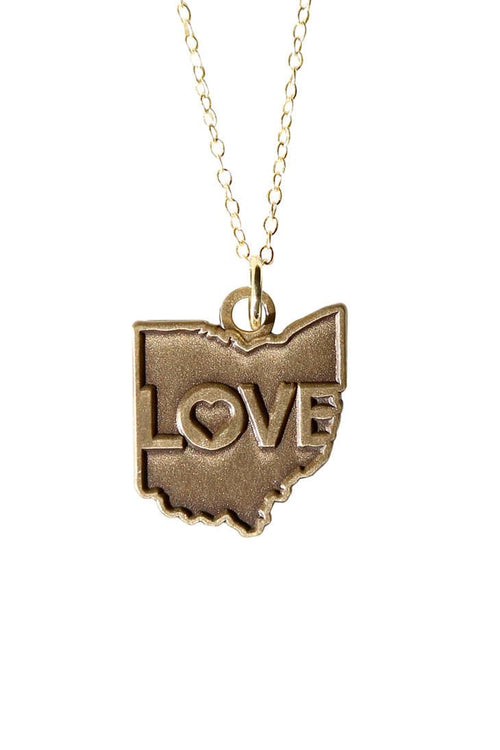 Ohio Love Pendent Necklace - Old Gold - CLE Clothing Co.