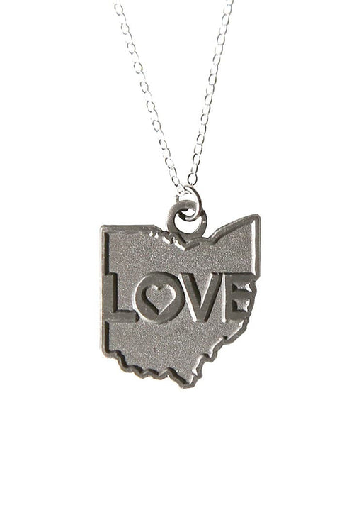 Ohio Love Pendent Necklace - Old Silver - CLE Clothing Co.